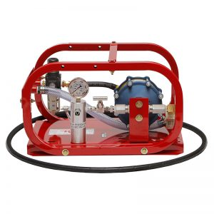 Pneumatic hydrostatic pumps for pressure testing boilers and heat exchangers.